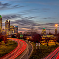 November Sun Setting Over Charlotte North Carolina Skyline by Alex Grichenko