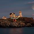 Nubble Light Full Moon by Stan Dzugan