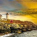 Nubble Lighthouse At Sunset by Ken Marsh