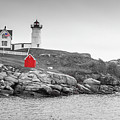 Nubble Lighthouse In Color And Black And White by Doug Camara