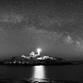 Nubble Lighthouse Milky Way Pano Bw by Michael Ver Sprill