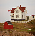Nubble Lighthouse Shed And House by Pamela Picassito