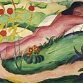 Nude Lying In The Flowers 1910 by Marc Franz
