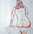 Nude On Bench by J R Seymour