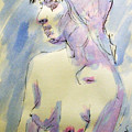Nude Portrait Drawing Sketch Of Young Nude Woman Feeling Sensual Sexy And Lonely Watercolor Acrylic by M Zimmerman