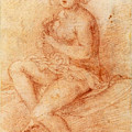 Nude Seated Woman Playing A Lute by Giovanni Baglione