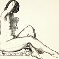 Nude Study, Girl Sitting On A Flowered Cushion by George Wesley Bellows