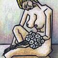 Nude With White Flowers by Kamil Swiatek