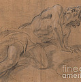 Nude Youth Leaning On A Cloud And Gazing Upward by Giovanni Battista Beinaschi