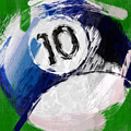 Number Ten Billiards Ball Abstract by David G Paul