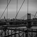 Ny Skyline From Brooklyn Bridge by Franz Zarda