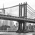 Nyc Manhattan Bridge In Black And White by Regina Geoghan