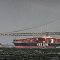 Nyl Line Container Ship By Bay Bridge In San Francisco, California by David Oppenheimer