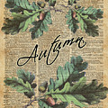Oak Tree Leaves And Acorns, Autumn Dictionary Art by Anna W