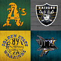 Oakland Sports Fan Recycled Vintage California License Plate Art Athletics Raiders Warriors Sharks by Design Turnpike