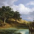 Oaks Beside The Water 1832 By Christian E. B. Morgenstern by Christian E B Morgenstern