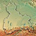Oberbayern Regierungsbezirk Bayern 3d Render Topographic Map Bor by Frank Ramspott