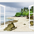 Ocean Front Beach Open White Picture Window Frame Canvas Art Vie by James BO Insogna