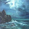 Seascape And Moonlight An Ocean Scene by Katalin Luczay