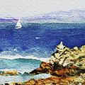 Ocean Shore Watercolor Impressionism  by Irina Sztukowski