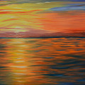 Ocean Sunrise- Oil Painting- Abstract Art by Kathy  Symonds