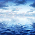 Ocean With Calm Waves Background With Dramatic Sky by Michal Bednarek