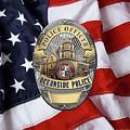 Oceanside Police Department - Opd Officer Badge Over American Flag by Serge Averbukh