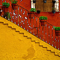 Ochre Staircase With Red Wall 2 by Mexicolors Art Photography
