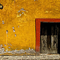 Ochre Wall With Red Door by Mexicolors Art Photography