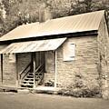 Oconee Station Blockhouse Black And White by Lisa Wooten