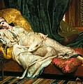 Odalisque With A Lute by Hippolyte Berteaux