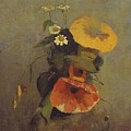 Odilon Redon - Vase With Poppy, Camomile And Bindweed by Odilon Redon