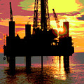Offshore Drilling Rig Sunset by Dennis Thompson