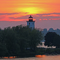 Ogdensburg Lighthouse At Sunset 6695 by Jack Schultz