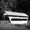 Ohio Covered Bridge In Black And White by Tom Mc Nemar