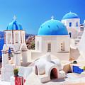 Oia Town On Santorini Island Greece Aegean Sea by Michal Bednarek