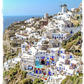 Oia Watercolor by Delphimages Photo Creations