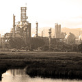 Oil Refinery Industrial Plant In Martinez California . 7d10364 . Sepia by Wingsdomain Art and Photography