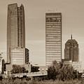 Oklahoma City Skyline Square Sepia by Gregory Ballos