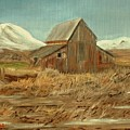Old Barn And Mountain View by Kenneth LePoidevin