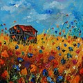 Old Barn And Wild Flowers by Pol Ledent