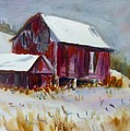 Old Barn In Snow by Linda Emerson