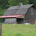 Old Barn With Red Leanto  Washington State by Laurie Kidd