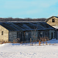 Old Barns And Snow by Dave Clark