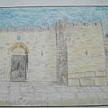 Old City.jerusalem.color Pencils 1992 by Dr Loifer Vladimir