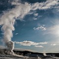 Old Faithful Erupting At Dawn by NaturesPix