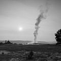 Old Faithful Steam Bw by Michael Ver Sprill