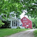 Old Farmhouse And Red Barn by Jo-Ann Matthews