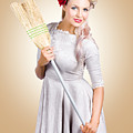 Old Fashion Woman Spring Cleaning With Broom by Jorgo Photography - Wall Art Gallery