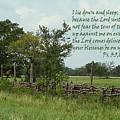Old Fashioned Fence  Psalm Three Vs Five Six And Eight by Linda Phelps